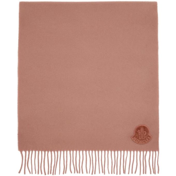 Moncler Foulard en laine a logo rose