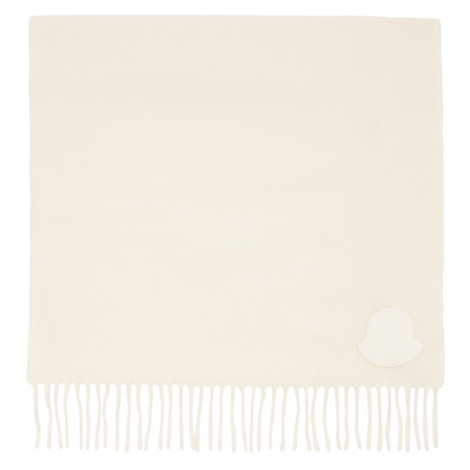 Moncler Foulard en laine a logo blanc casse