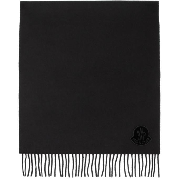 Moncler Foulard en laine a logo noir