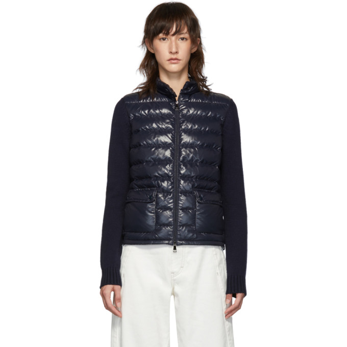Moncler Moncler Navy Down Knit Jacket