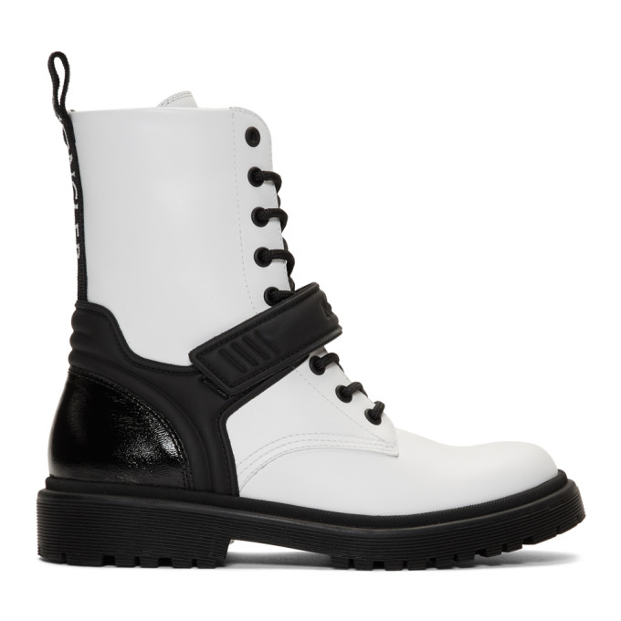 Moncler White Calypso Combat Boots