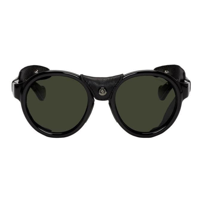 Moncler Black Leather ML0046 Sunglasses