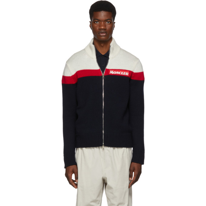 Moncler Off-White and Navy Maglione Tricot Zip Sweater