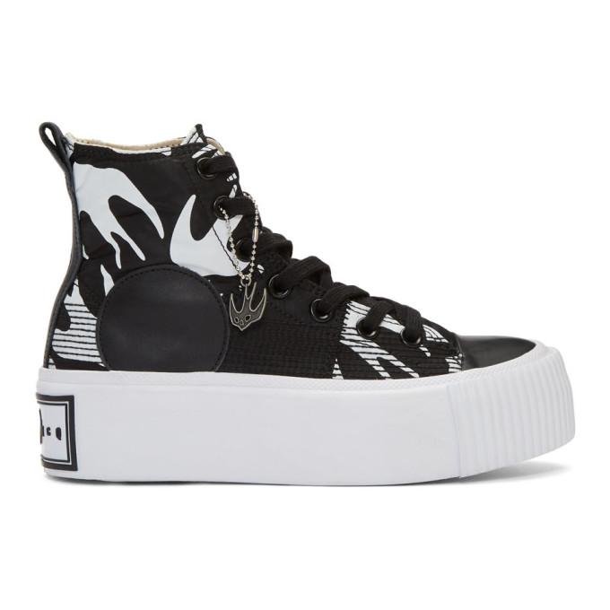 McQ Alexander McQueen Black Plimsoll Platform High Sneakers