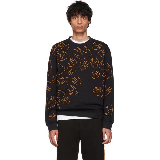 McQ Alexander McQueen Black and Orange Embroidered Swallow Sweatshirt
