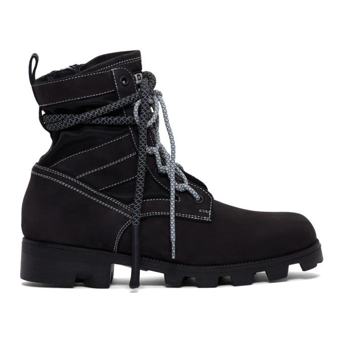 McQ Alexander McQueen Black Exodus Lace-Up Boots