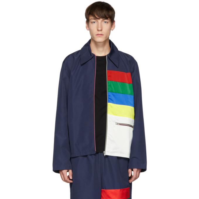 Xander Zhou Navy Color Block Jacket