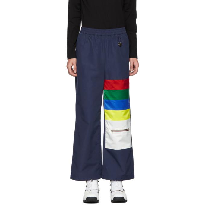 Xander Zhou Pantalon a rayures bleu marine