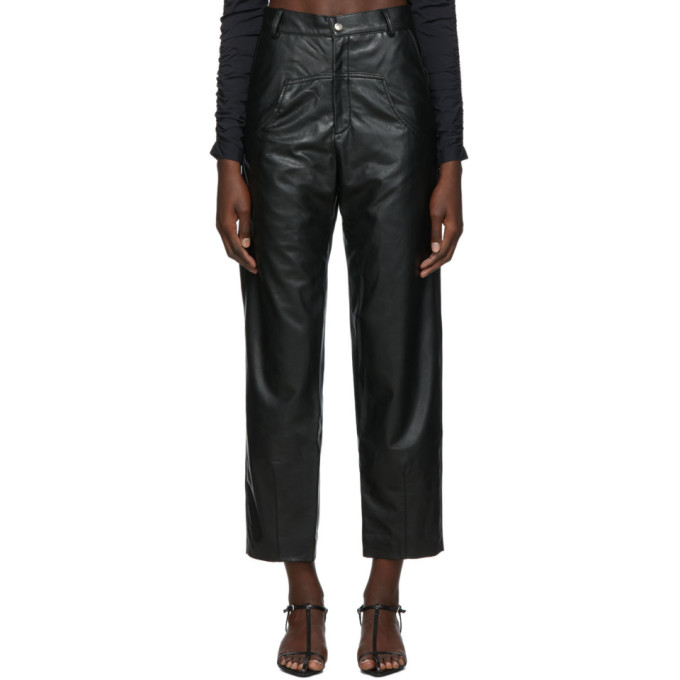 Markoo Pantalon en cuir vegetalien noir The Dropped Pocket exclusif a SSENSE