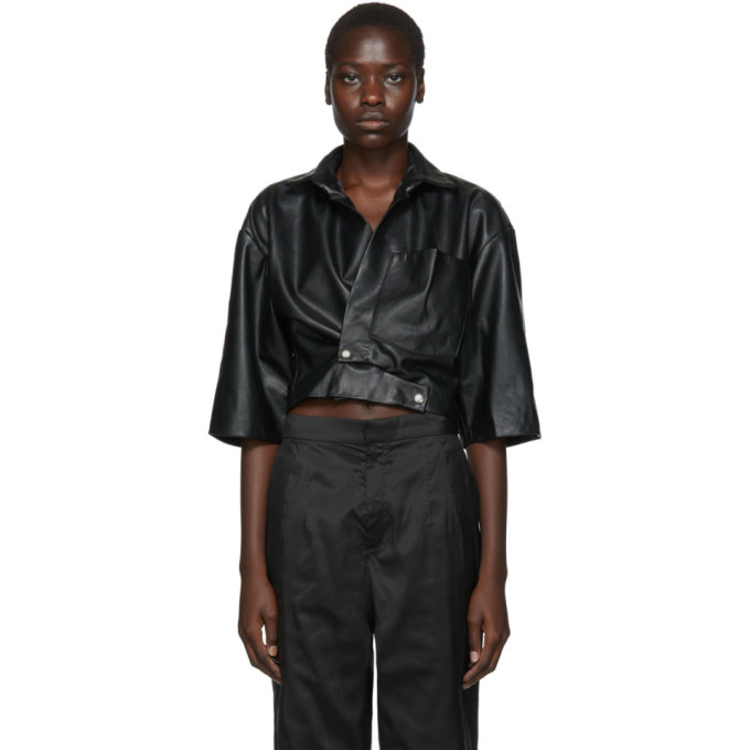 Markoo Chemise noire The Cropped Snap-Front exclusive a SSENSE