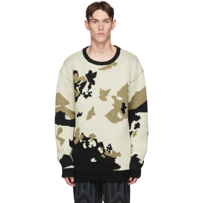 BED J.W. FORD Off-White and Black Wool Cow Knit Sweater