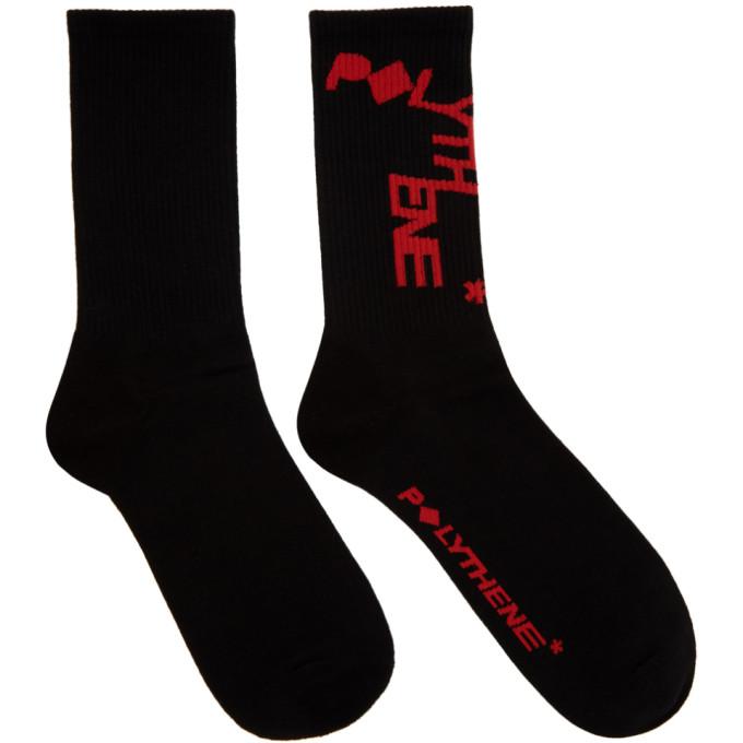 Polythene* Optics Chaussettes a logo noires et rouges Zig Zag