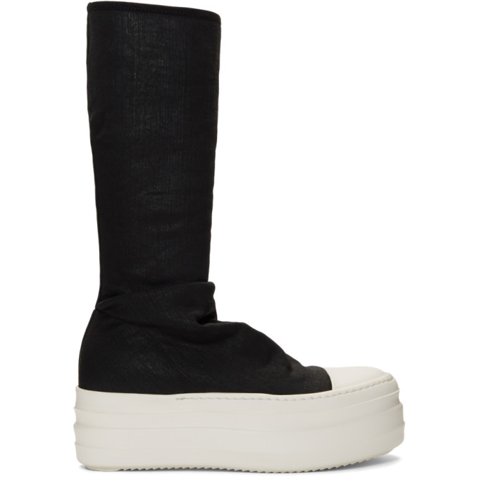 Rick Owens Drkshdw Black Double Bumper Sock Sneaker Boots