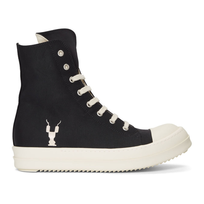 Rick Owens Drkshdw Black and Off-White Twill High-Top Sneakers