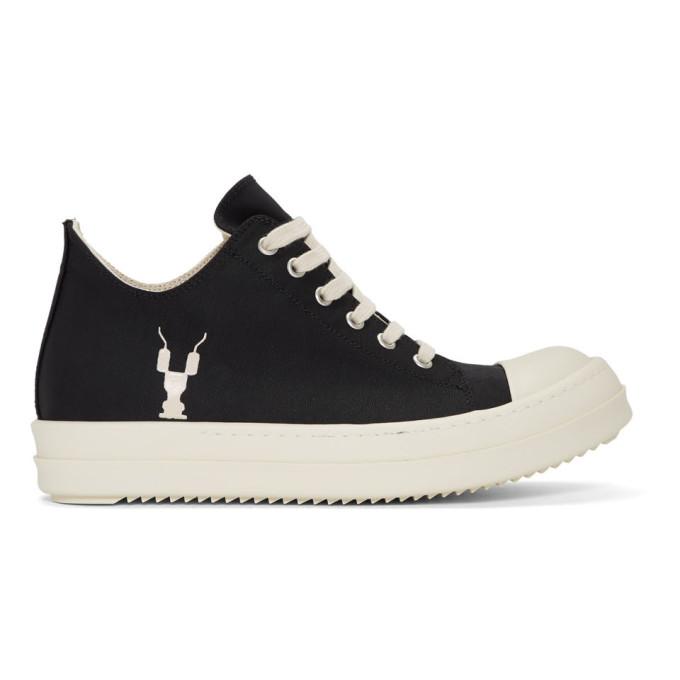 Rick Owens Drkshdw Black Grosgrain Low Sneakers