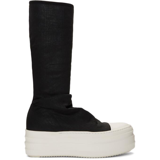 Rick Owens Drkshdw Black Double Bumper Sock High-Top Sneakers