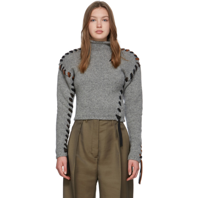Acne Studios Grey Lace-up Turtleneck In Grey Melang