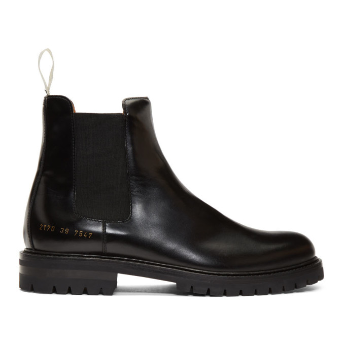Common Projects Black Polished Chelsea Boots