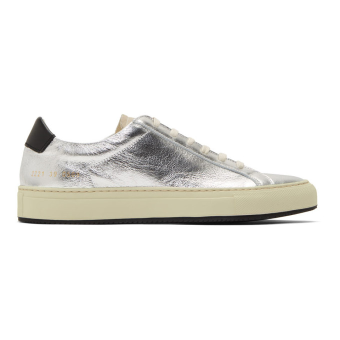 Common Projects Silver and Black Retro Low Sneakers