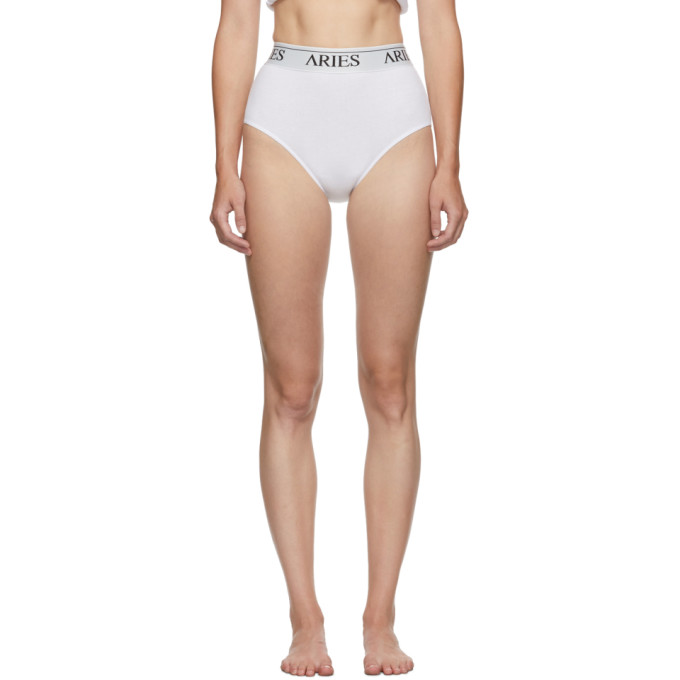 Aries Culotte cotelee a taille haute blanche