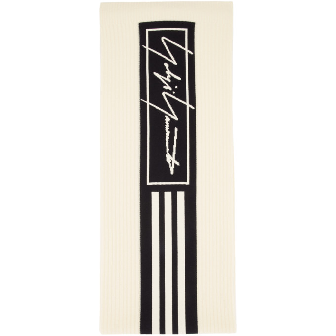 Y-3 Off-White and Black 3-Stripes Scarf
