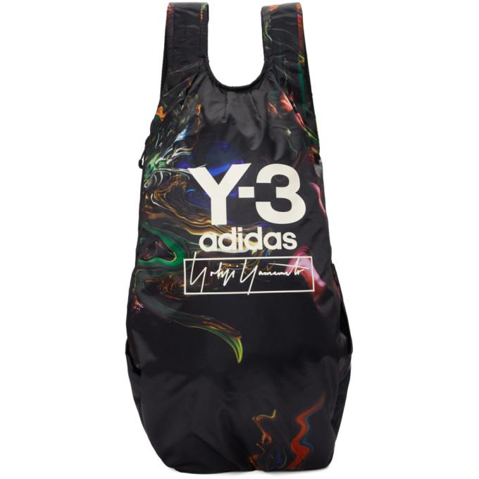 Y-3 ブラック and マルチカラー ロゴ バックパック