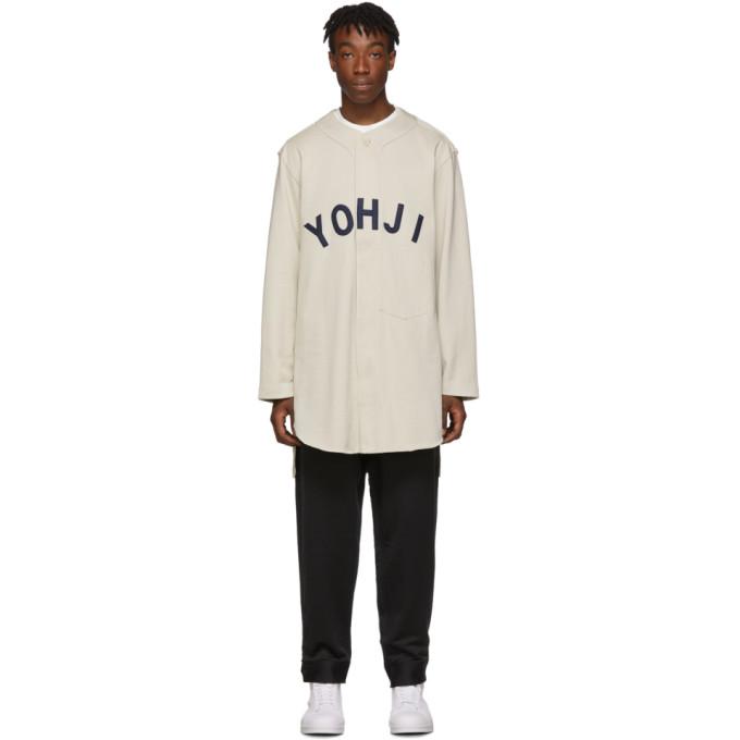Y-3 Chemise de base-ball beige Yohji Letters