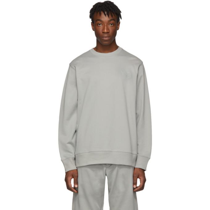 Y-3 グレー ロゴ クルーネック セーター