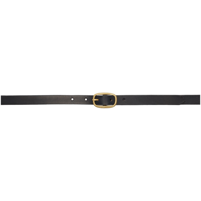 Maximum Henry Ceinture noire et doree Very Slim Oval