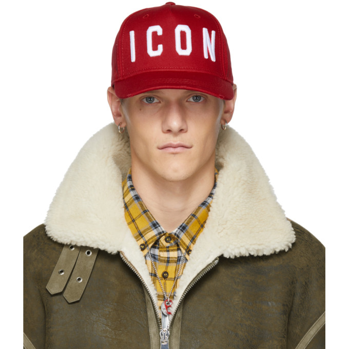 Dsquared2 0 DSQUARED2 RED AND WHITE ICON BASEBALL CAP
