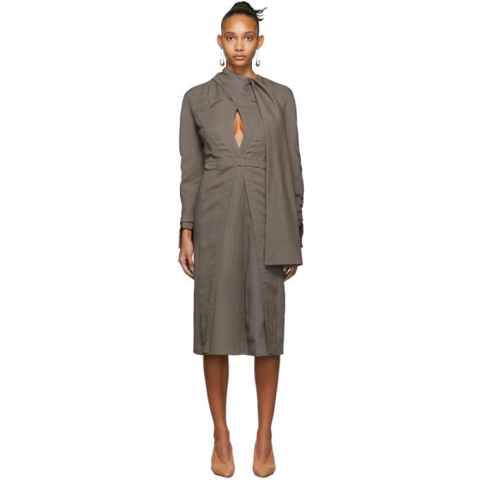 Situationist Robe en laine brune Cape
