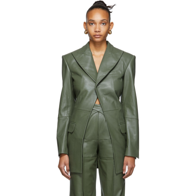 Situationist Blazer en cuir vert exclusif a SSENSE
