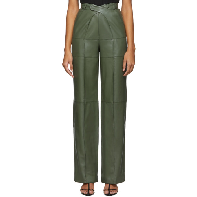 Situationist Pantalon en cuir vert