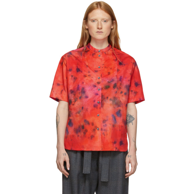 Rokh Chemise a manches courtes rouge Tie and Dye