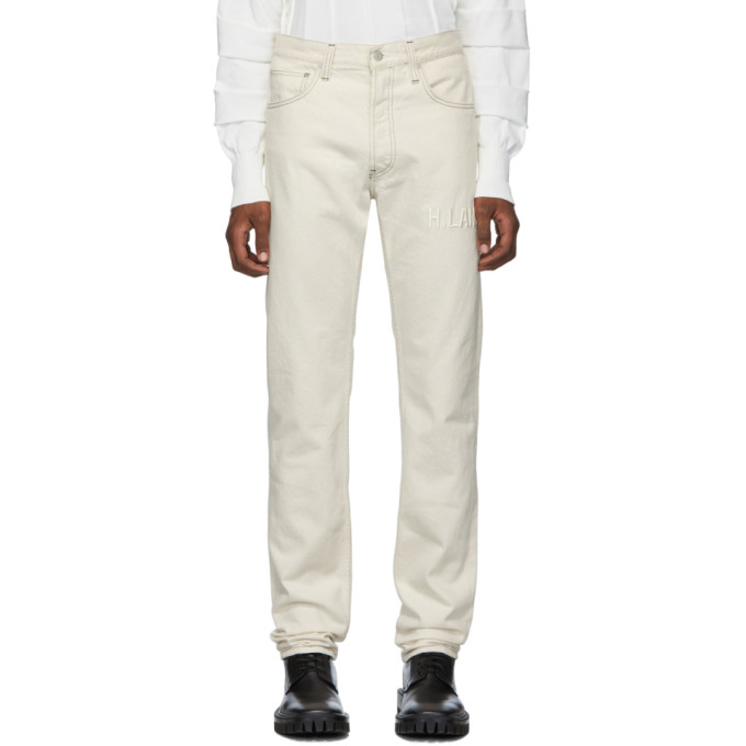 Helmut Lang Off-White Embroidered Masc Hi Straight Jeans