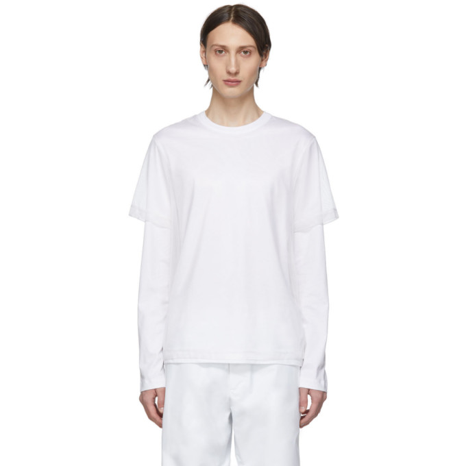 HELMUT LANG   Helmut Lang White Double Long Sleeve T-Shirt   Goxip