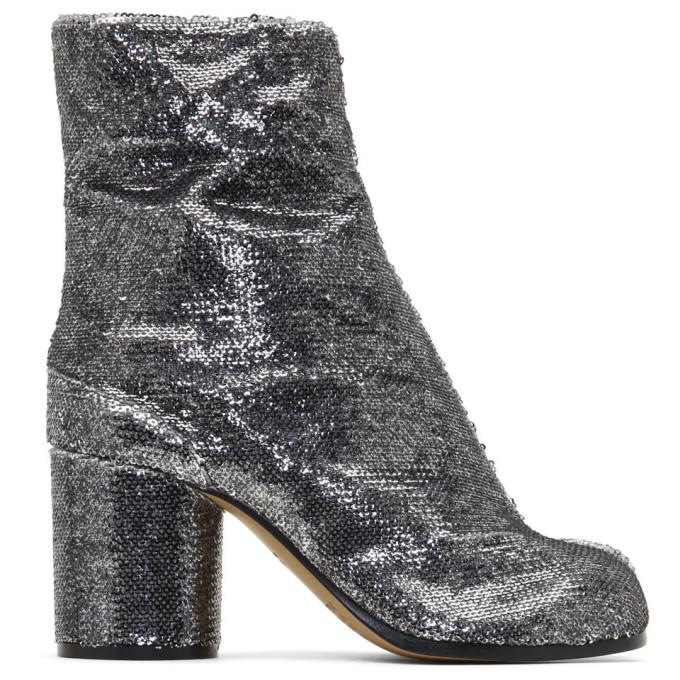 Maison Margiela Silver Sequin Tabi Heels
