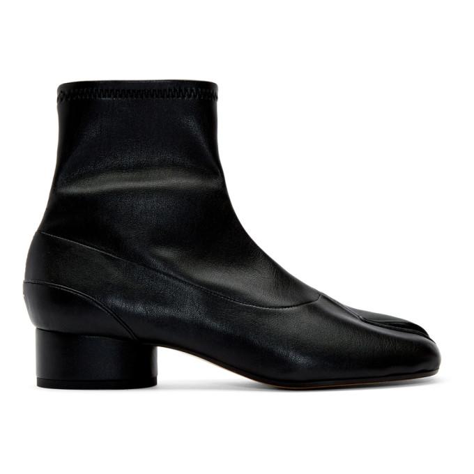 MAISON MARGIELA | Maison Margiela Black Stretch Low Heel Tabi Boots | Goxip