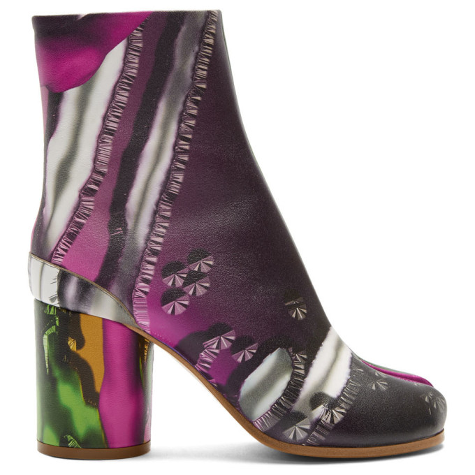 Maison Margiela Green and Pink Graphic Tabi Boots
