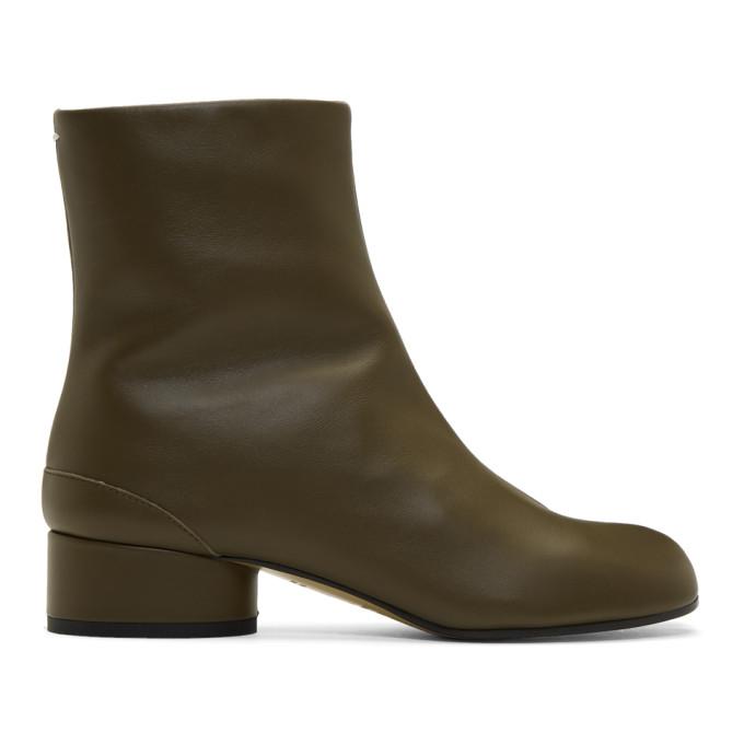 Maison Margiela Green Mid Heel Tabi Boots