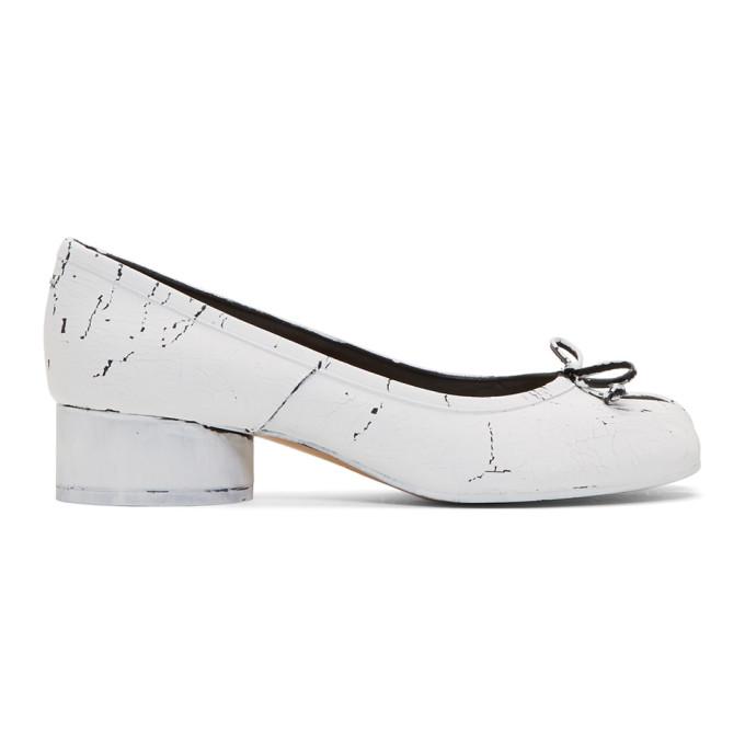 Maison Margiela White and Black Painted Tabi Ballerina Flats