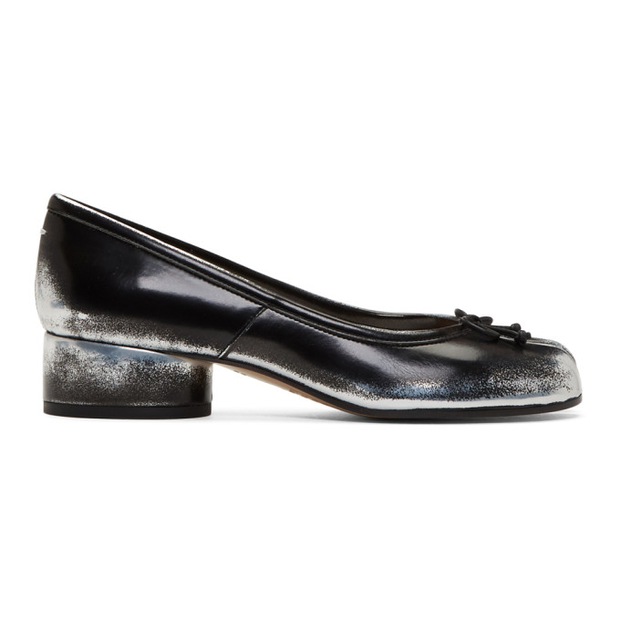 Maison Margiela Black and Silver Spray Tabi Ballerina Flats