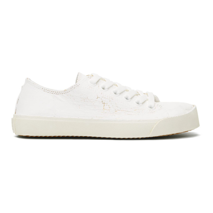 Maison Margiela White and Gold Tabi Sneakers