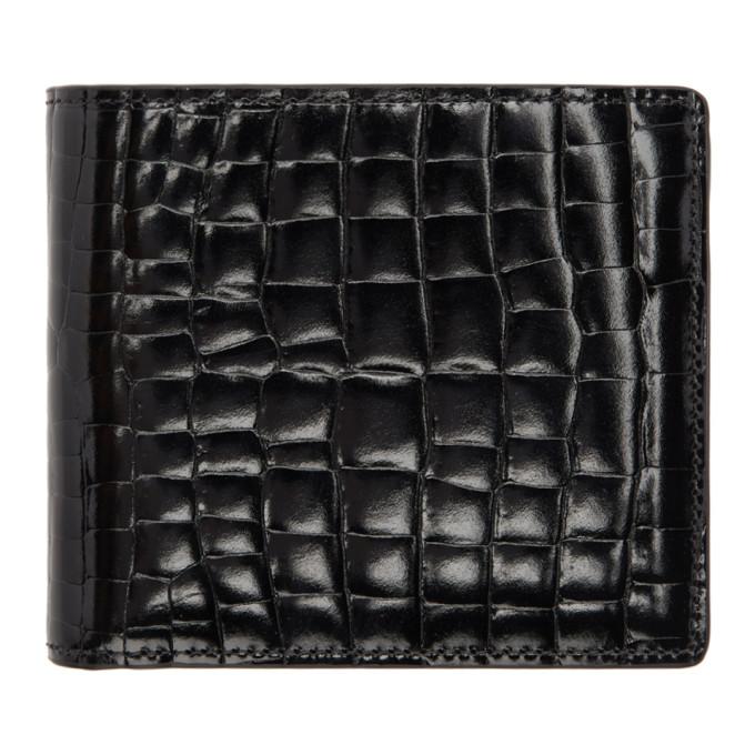 Maison Margiela Black Croc Bifold Wallet