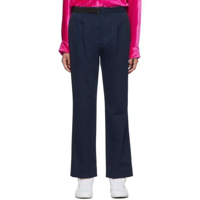 Maison Margiela Pantalon a ceinture bleu