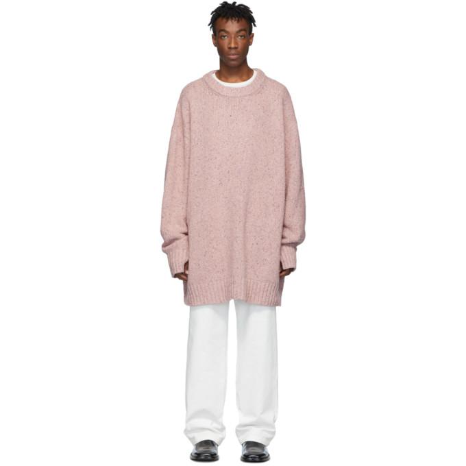 Maison Margiela ピンク オーバーサイズ クルーネック セーター