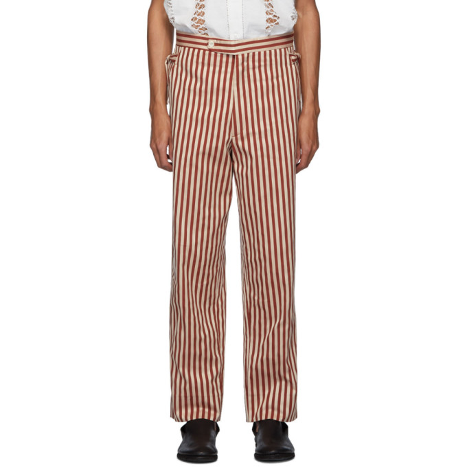 Bode Burgundy Broad Stripe Moire Trousers