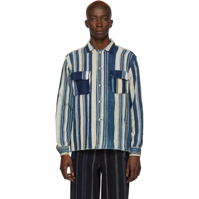 Bode Chemise rayee bleue African Country Cloth