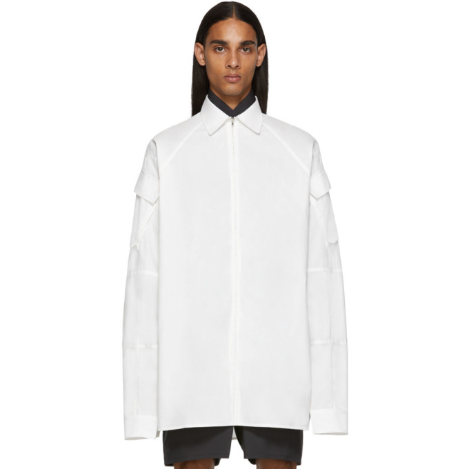 Random Identities Chemise a glissiere blanche Cargo Pocket