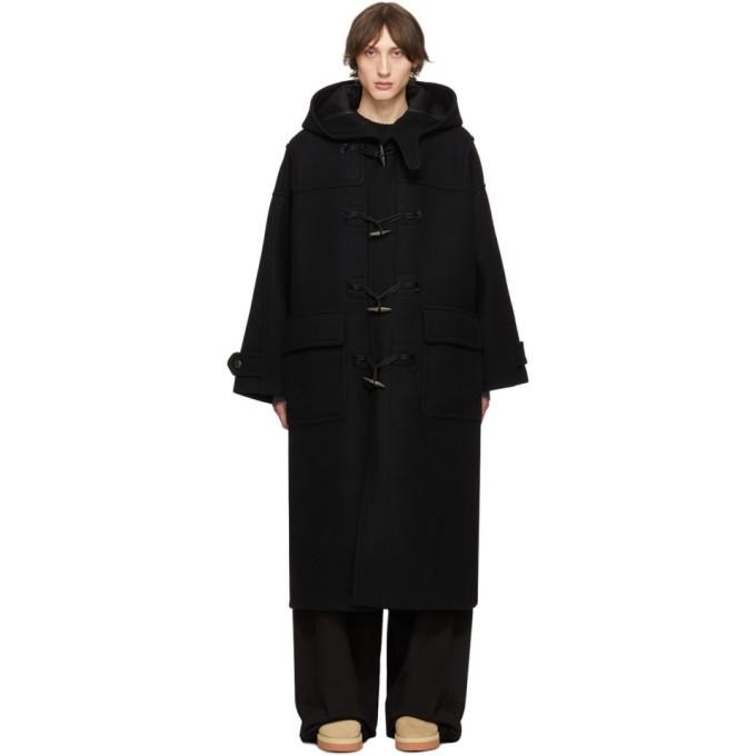 Fumito Ganryu Black Trapeze Duffle Coat